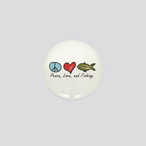 Peace, Love, Fishing Mini Button